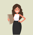 business woman with a folder in her hands vector image vector image