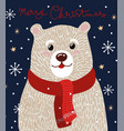 christmas card with cute polar bear in a red scarf vector image vector image