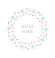 Christmas festive round frame for Christmas cards vector image