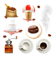 Coffee icon set and elements vector image