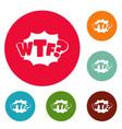 comic boom wtf icons circle set vector image vector image