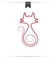 Continuous red line drawing of cat