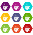 cup tea icons set 9 vector image vector image
