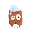 cute little brown sleepy chick bird standing vector image vector image