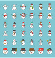 cute snowman in various design with hat tea cup vector image
