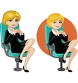 Cute young Caucasian office woman on chair vector image vector image