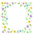 easter frame for text with eggs leaves vector image vector image