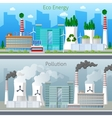 Eco Factory Green Energy and Air Pollution vector image vector image