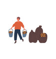 farmer harvesting potatoes flat vector image