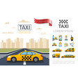 flat taxi service composition vector image vector image