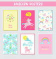 greeting cards set with cute magic unicorns vector image vector image