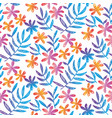 hand drawn seamless pattern with tropical flowers vector image