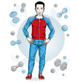 happy brunet young adult man standing on simple vector image