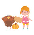 happy thanksgiving day cute girl with turkey vector image vector image