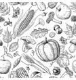 harvest products seamless pattern hand drawn vector image
