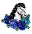 horse head with flowers image vector image vector image