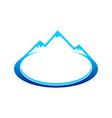 ice blue mountain landscape oval symbol design vector image