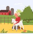 kid and farm animal summer holidays at village vector image