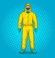 man in protective hazard suit pop art vector image