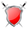 metal shield and swords red glass plate vector image