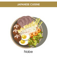 nutritious exotic nabe on plate from japanese vector image vector image