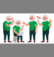 old man poses set elderly people senior vector image