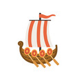 old wooden ship with sail flag and paddles vector image