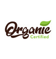 organic certified logo icon vector image vector image