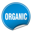 organic round blue sticker isolated on white vector image vector image