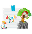 paper template with girl riding bike vector image vector image