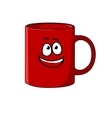 Red cartoon coffee mug with a happy face vector image