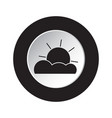 round black white button - weather partly cloudy vector image vector image