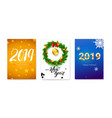 set holiday posters for happy new year events vector image