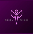 simple minimalist angel fly wings line outline vector image vector image
