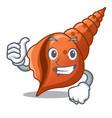thumbs up long shell character cartoon vector image