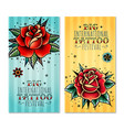 traditional tattoo roses vertical banners vector image vector image