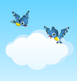 two birds and copy space cloud vector image vector image