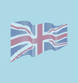 united kingdom flag on blue background wav vector image