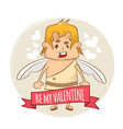 valentines day background with cupid vector image vector image