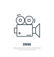 video camera line icon emblem for cinema vector image vector image