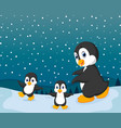 winter season with the small penguin and snow vector image