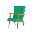 wooden armchair with green upholstery soft vector image vector image