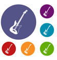 acoustic guitar icons set vector image vector image