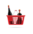 basket with bottle of wine color vector image vector image