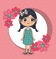 beautiful girl with floral frame kawaii character vector image vector image