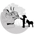 boy and cow vector image vector image