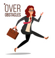 business woman jumping over obstacles vector image