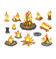 campfire icon set isolated cartoon fire flame vector image