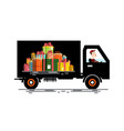 car with driver and gift boxes pile cargo vehicle vector image