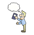 cartoon man with book with thought bubble vector image